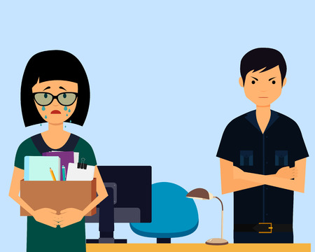 angry boss: Dismissed. Sad woman and angry boss in office. Vector illustration
