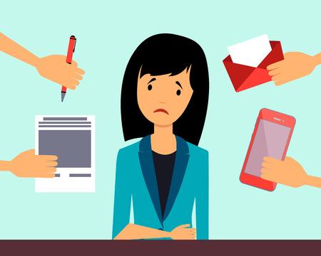 depresi�n: Mujer de negocios deprimido. Concepto de negocio. Ilustraci�n vectorial Vectores