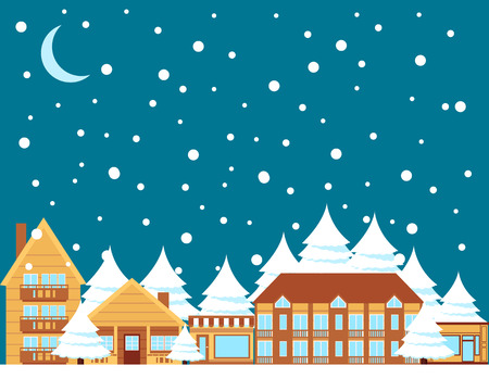 wooden houses: Winter town. Wooden houses and trees at night. illustration