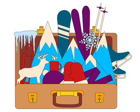 winter clothes: Winter vacation. Suitcase with winter clothes. Flat design. illustration