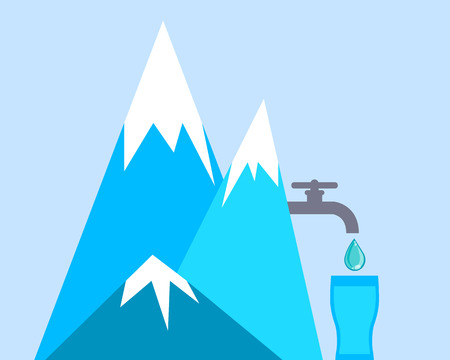 water dripping: Clean mountain water dripping from a tap into a glass.