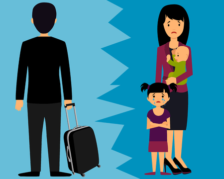 Divorce. Man left leaving wife and small children. Illustration