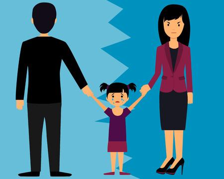 El concepto de divorcio. Los padres se dividen niño. Ilustración de vector