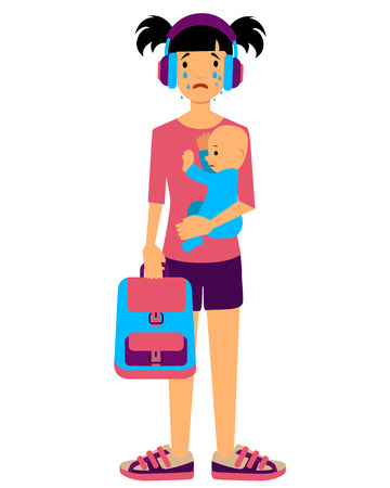 sad teenage girl: Teenage mother crying and holding the baby.  Illustration