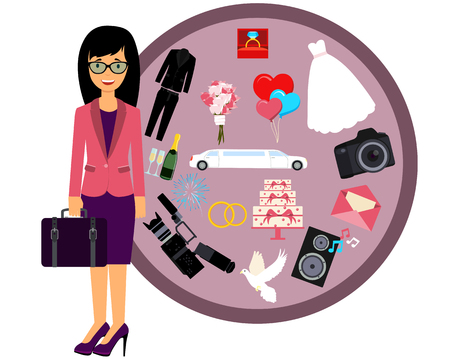 event planner: Wedding Planner. Icon set Wedding. Illustration