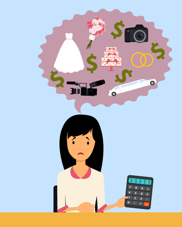 event planning: The bride planning a wedding and upset because of high prices.