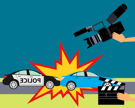 car accident: Operator holding clapper board during the production of film in the night. Car accident. Illustration