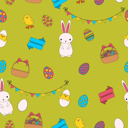 chick: Seamless pattern Easter. Rabbit, chick and eggs. Flat line design.