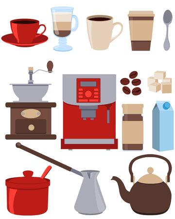 instant coffee: Icons set coffee. Cup, kettle and sugar. Vector illustration Illustration