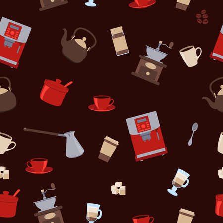 instant coffee: Seamless pattern coffee. Cup, kettle and sugar. Vector illustration