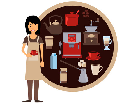Barista holding a cup of coffee. Vector illustration Illustration