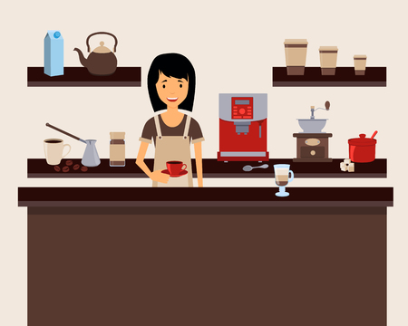 instant coffee: Barista holding a cup at coffee shop. Vector illustration