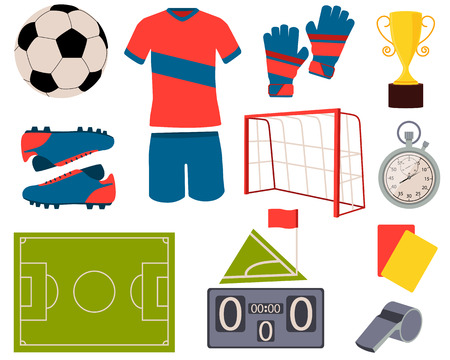 Icon set football. Soccer ball, uniform and shoes. Vector illustration Vettoriali