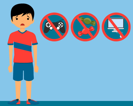Punishment child. The ban on video games, sweet and a computer. Vector illustration Vettoriali