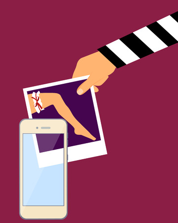stealing: Stealing personal photos from a mobile phone. Vector illustration Illustration