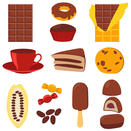 cocoa fruit: Icon set chocolate products. Chocolate, candy and cocoa fruit. Vector illustration