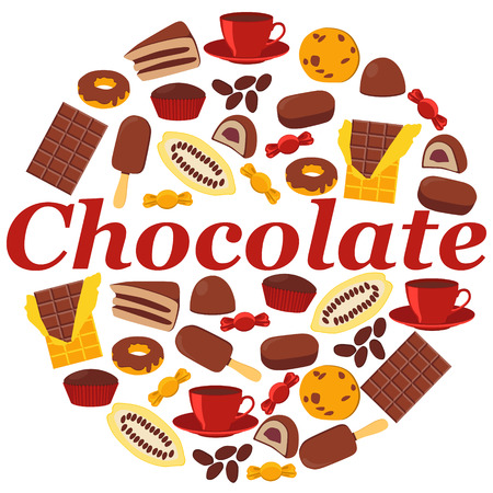 cocoa fruit: Poster chocolate products. Chocolate, candy and cocoa fruit. Vector illustration Illustration