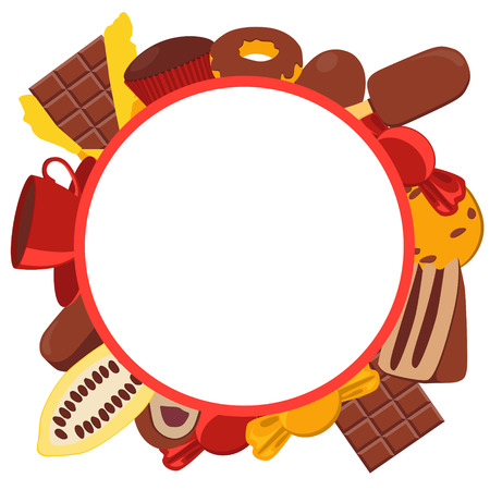 cocoa fruit: Frame chocolate products. Chocolate, candy and cocoa fruit. Vector illustration Illustration