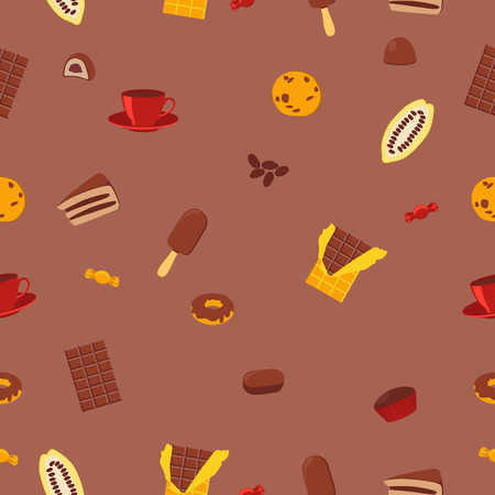 cocoa fruit: Seamless pattern chocolate products. Chocolate, candy and cocoa fruit. Vector illustration