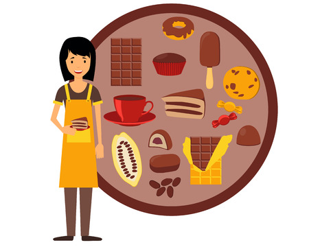 confectioner: Confectioner holding a plate with cake. Vector illustration