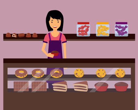 confectioner: Woman seller holding a cupcake in confectionery. Vector illustration