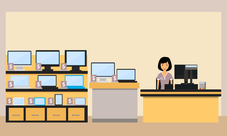 electronics store: Happy woman seller in the electronics store. Vector illustration