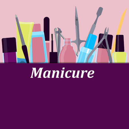 Poster tools for manicure on pink background. Vector illustration