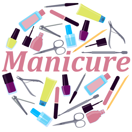 cuticle pusher: Round Poster tools for manicure. Vector illustration Illustration
