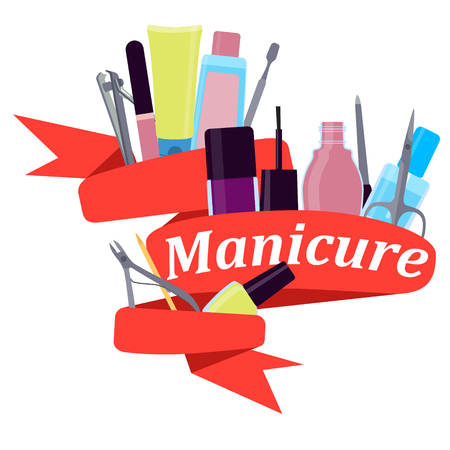 Red Ribbon tools for manicure. Vector illustration Vetores