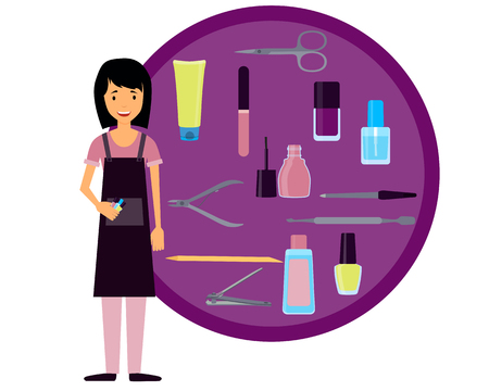 clippers: Manicurist and set of tools for manicure. Illustration