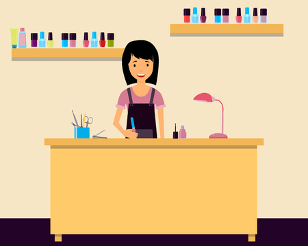 cuticle pusher: Workplace manicurist. Young woman sitting at a table in a beauty salon. Vector illustration