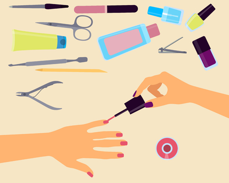 cuticle pusher: Top view of the workplace manicurist. Vector illustration Illustration