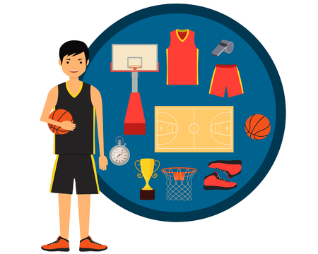athlete cartoon: Basketball player and basketball icon set. Vector illustration