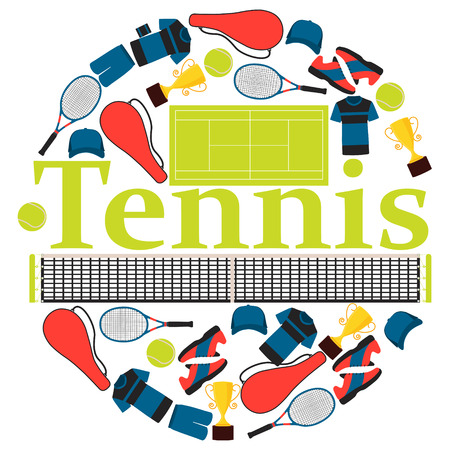 wristband: Round Poster tennis. Clothes and equipment. Vector illustration