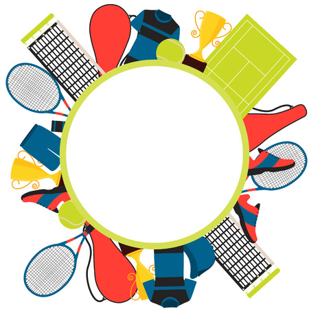 tennis shoe: Frame tennis. Clothes and equipment. Vector illustration Illustration