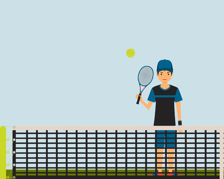 tennis court: Young man playing tennis on the tennis court. Vector illustration