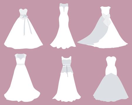 Set Brautkleider von verschiedenen Stilen. Illustration