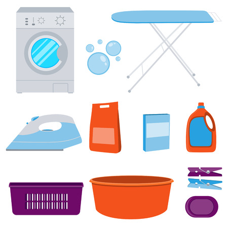 laundry detergent: Icons set laundry. Washing machine and laundry detergent. illustration Illustration