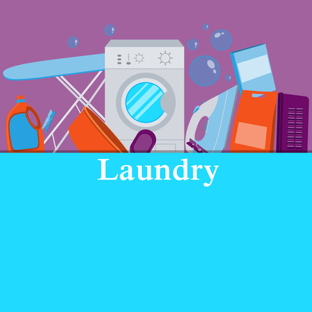 laundry detergent: Poster laundry. Washing machine and laundry detergent. illustration Illustration