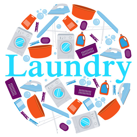 laundry detergent: Round Poster laundry. Washing machine and laundry detergent. illustration