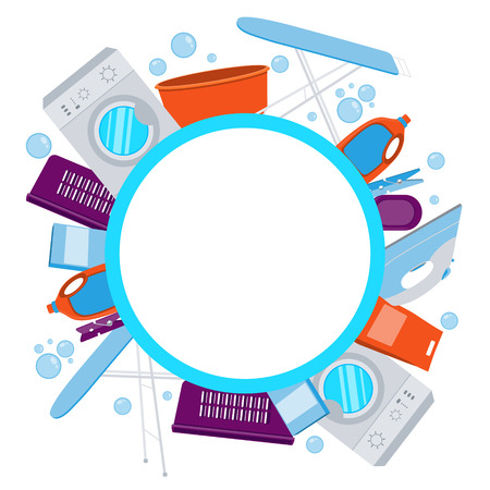laundry detergent: Frame laundry. Washing machine and laundry detergent. illustration
