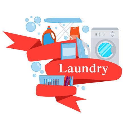 laundry detergent: Red Ribbon laundry. Washing machine and laundry detergent. illustration