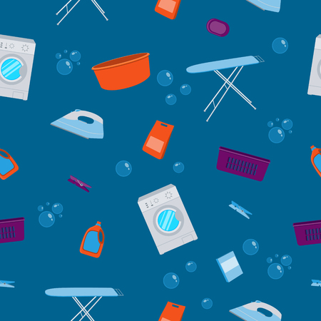 laundry detergent: Seamless pattern laundry. Washing machine and laundry detergent. illustration