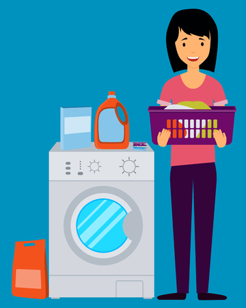 washing machine: Woman holding clothes near the washing machine. illustration