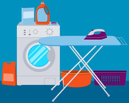 Interior laundry. Washing machine and laundry detergent. illustration
