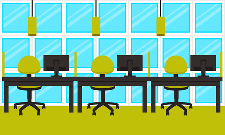 modern office space: Modern green office. Workplace. Office space. illustration