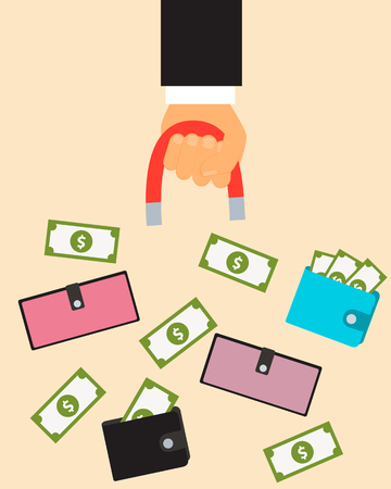 clients: Customer acquisition. Hand with a magnet and a purse with money. illustration