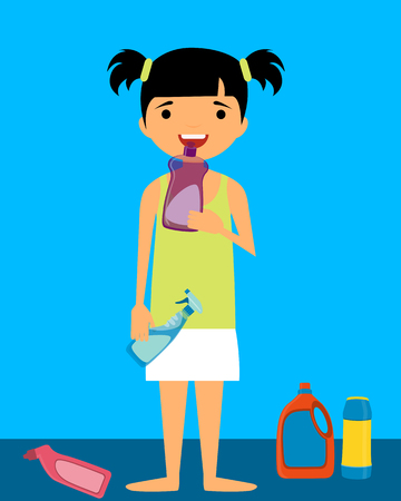 plays: A child plays with household cleaners.