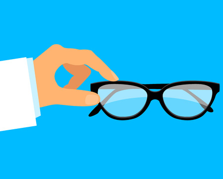 ophthalmologist: Ophthalmologist. The doctor in the medical gown holding glasses. Illustration