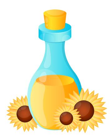 sunflower oil: Sunflower oil. Bottle and flowers. illustration